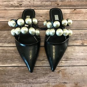 NWT Zara Faux Leather Pearl Flats Size 10